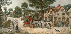 Changing Horses at Plough (Restrike Etching) by Henry Alken