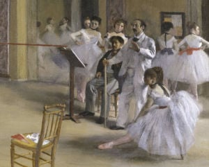 Ballet room at the opera in Rue Le Peletier (detail I) by Edgar Degas