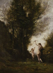 Nymph playing with a cherub by Jean-Baptiste-Camille Corot