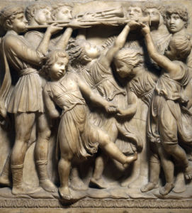 Group of children making music and dancing by Andrea Della Robbia