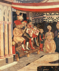 Musicians at Wedding of Boccaccio and Lisa Ricasoli by Master of Cassone Adimari