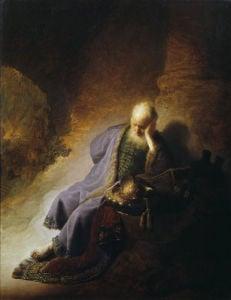 Jeremiah mourning the destruction of Jerusalem by Rembrandt