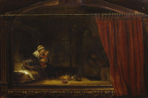The Holy Family with the Curtain by Rembrandt
