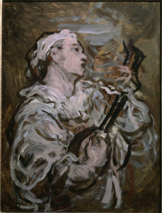 Pierrot with a guitar by Honoré-Victorin Daumier