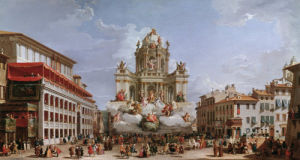 Festive decorations on Pizza di Spagna by Giovanni Paolo Panini