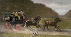 Coaching in Bushey Park (Restrike Etching) by Harrington Bird