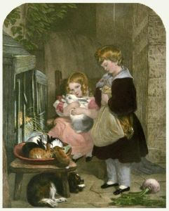 Children and Rabbits (Restrike Etching) by Sir Edwin Henry Landseer