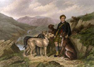 Gillie & Deerhounds (Restrike Etching) by Frederick Tayler
