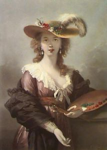 Self Portrait in a Straw Hat (Restrike Etching) by Marie Elisabeth Louise Vigee-Lebrun