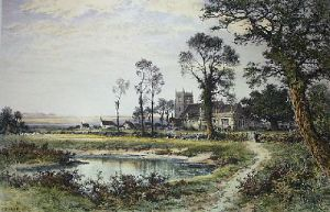 The Way to the Village Church (Restrike Etching) by Benjamin Williams Leader