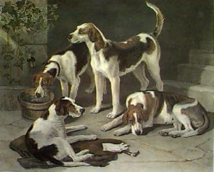 Group of Favourites (Dogs) (Restrike Etching) by George W Horlar