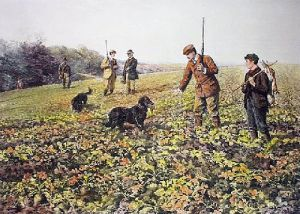 Among the Turnips (Restrike Etching) by Heywood Hardy