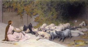 Circe & the Friends of Ulysses (Restrike Etching) by Briton Riviere