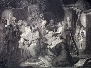 King John signing Magna Carta (Restrike Etching) by Anonymous