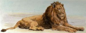 Lion on the Alert (Restrike Etching) by Herbert Thomas Dicksee