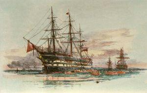 Exmouth (Training Ship) (Restrike Etching) by William Lionel Wyllie