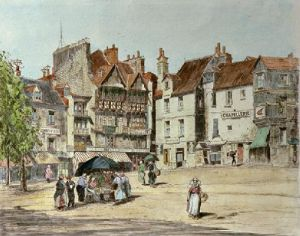 French Market Square (Restrike Etching) by Anonymous