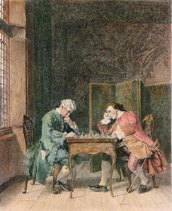 Chess Players (Restrike Etching) by John Wallace