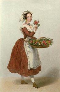 La Bouquetiere (Restrike Etching) by A. de Valentini