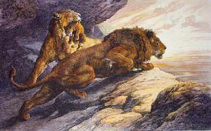Alarm, The (Lion) (Restrike Etching) by Herbert Thomas Dicksee