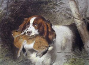 Trim (Dog with Rabbit) (Restrike Etching) by Sir Edwin Henry Landseer