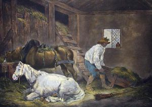 Interior of a Stable (Restrike Etching) by George Morland