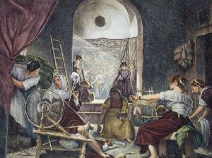 Tapestry Weavers (Restrike Etching) by Anonymous