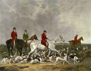 Earl Derby Staghounds (Restrike Etching) by James Barenger