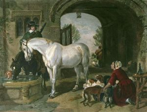 Horses at the Fountain (Restrike Etching) by Sir Edwin Henry Landseer