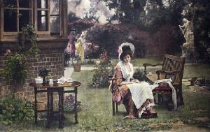 In the Shade (Restrike Etching) by Marcus Stone