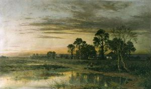 When Sun is Set (Restrike Etching) by Benjamin Williams Leader