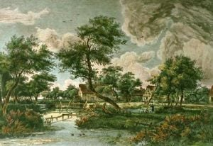 Village by the Water Mill (Restrike Etching) by Meindert Hobbema