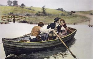 A Stern Chase, is a Long Chase (Restrike Etching) by Edmund Blair Leighton