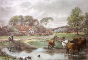Watering Place (Restrike Etching) by Myles Birket Foster