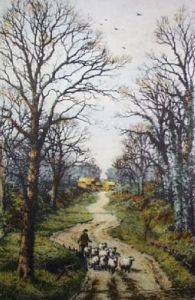 To Pastures New (Restrike Etching) by Frederick Albert Slocombe