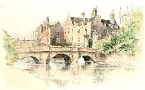 Cambridge View. St. Johns (Restrike Etching) by Anonymous