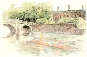 Cambridge View. Clair College (Restrike Etching) by Anonymous
