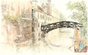 Cambridge View. Queens College (Restrike Etching) by Anonymous