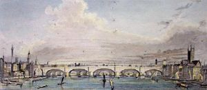 New London Bridge (Restrike Etching) by Peter Paul Pugin