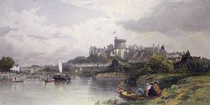 Windsor Castle from River (Restrike Etching) by Edward Duncan