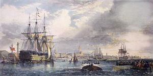 Portsmouth Harbour & Dockyard (Restrike Etching) by Edward Duncan