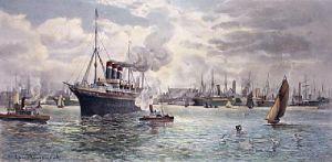 Southampton Docks (Restrike Etching) by James Townshend