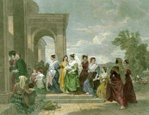 Procession To The Christening (Restrike Etching) by Inglis Sheldon-Williams