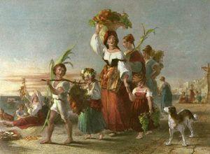 Neapolitan Peasants (Restrike Etching) by Thomas Uwins