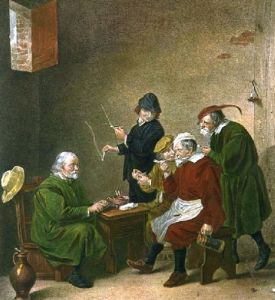 Dutch Smokers (Restrike Etching) by Anonymous