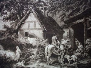 Door to the Village Inn (Restrike Etching) by George Morland