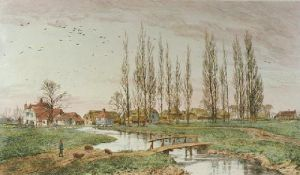 Pastoral Farm (Restrike Etching) by Frederick Albert Slocombe