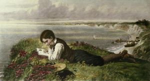 Absorbed in Robinson Crusoe (Restrike Etching) by Collinson