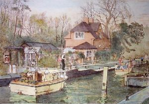 Approach to Sonning Lock (Restrike Etching) by Lawrence Josset