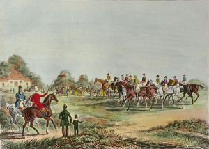 St Albans G Steeplechase - Pl. I (Restrike Etching) by James Pollard